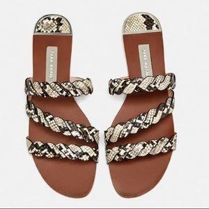 Zara Embossed Leather Sandals